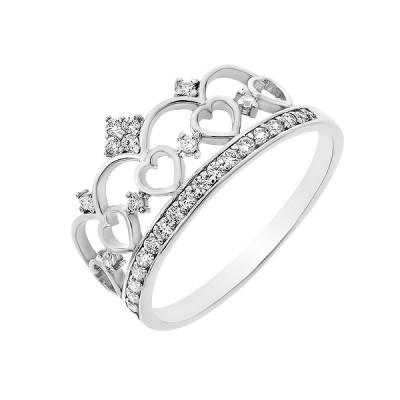 Каблучка срібна Корона з фіанітами (10267)