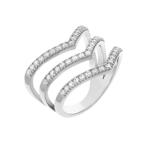 Каблучка срібна фантазія з розсипом (10314)