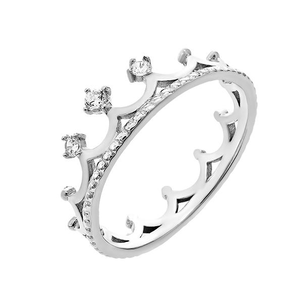Каблучка срібна Корона з фіанітами (1349)