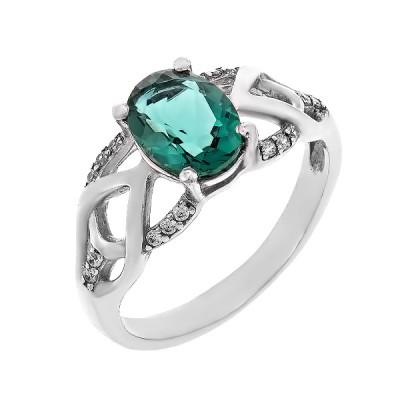 Каблучка срібна з зеленим кварцом  (1466/1р-QGR)