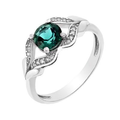Каблучка срібна з зеленим кварцом та фіанітами (1474/1р-QGR)