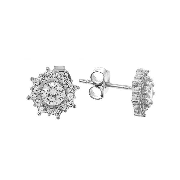 Сережки-пусети срібні з розсипом (1EA93869)