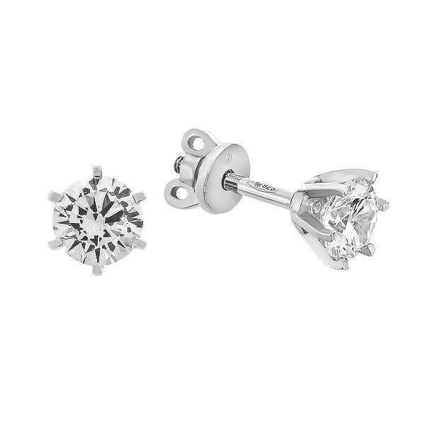 Сережки-пусети (гвоздики) срібні з фіанітами (20097)