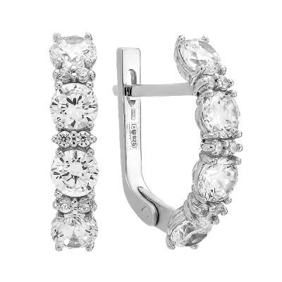 Сережки срібні доріжка з фіанітами (20245)