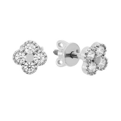Сережки-пусети срібні з розсипом (20323)