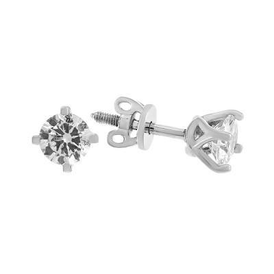 Сережки-пусети срібні з фіанітами (20383)