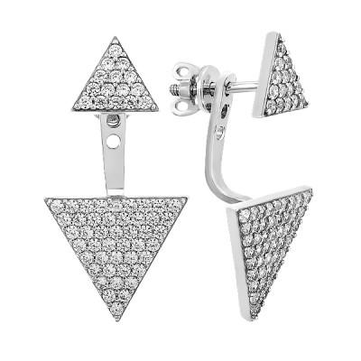 Сережки-пусети (гвоздики) срібні геометрія з розсипом (20399)