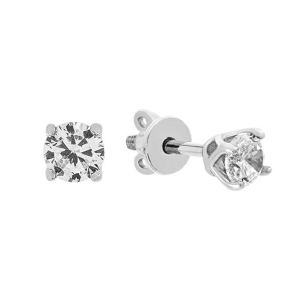 Сережки-пусети (гвоздики) срібні з фіанітами (20404)