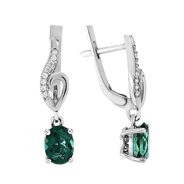 Сережки срібні з зеленим кварцем та фіанітами (2059/1р-QGR)