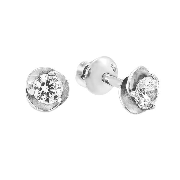 Сережки-пусети (гвоздики) срібні з фіанітами (2087/9р-CZ)