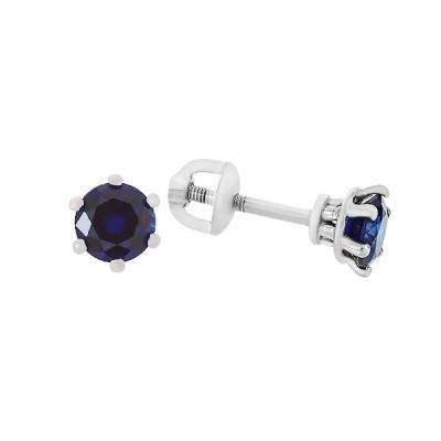 Сережки-пусети срібні з гідротермальним сапфіром (2091/9р-HSPH)