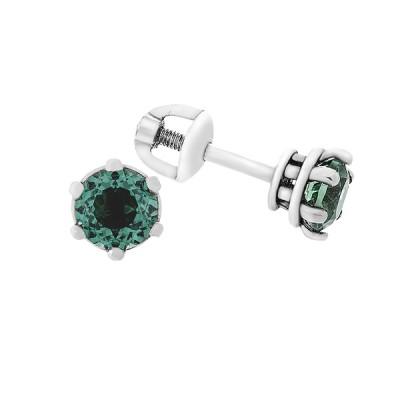 Сережки-пусети срібні з зеленим кварцем (2091/9р-QGR)