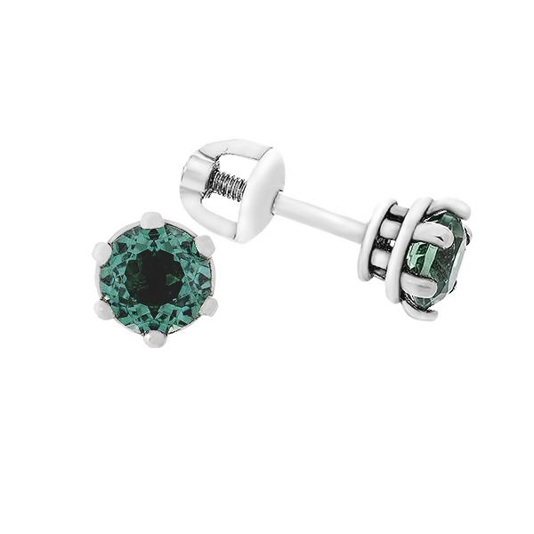Сережки-пусети (гвоздики) срібні з зеленим кварцем (2091/9р-QGR)