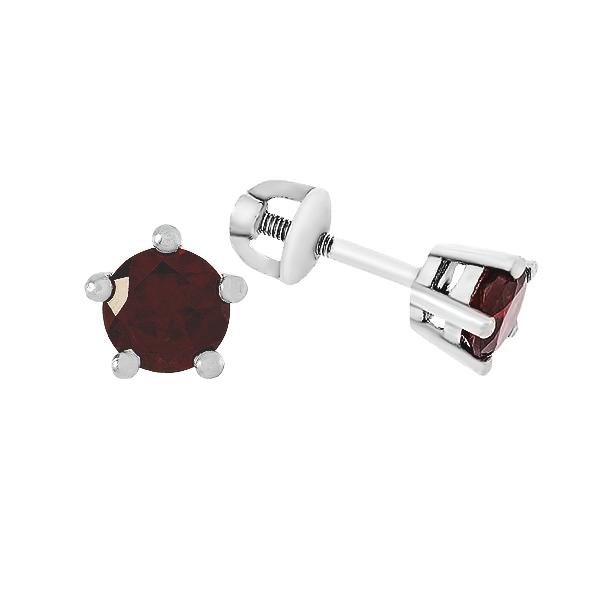 Сережки-пусети срібні з гранатом (2094/9р-GAR)