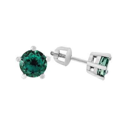 Сережки-пусети срібні з зеленим кварцем (2095/9р-QGR)
