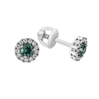 Сережки-пусети срібні з зеленим кварцем та фіанітами (2111/9р-QGR)