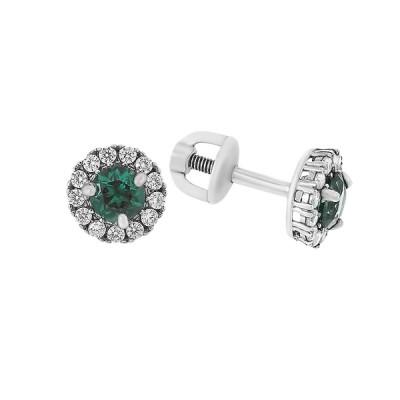 Сережки-пусети (гвоздики) срібні з зеленим кварцем та фіанітами (2112/9р-QGR)