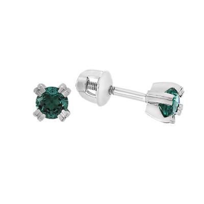 Сережки-пусети срібні з зеленим кварцем (2117/9р-QGR)