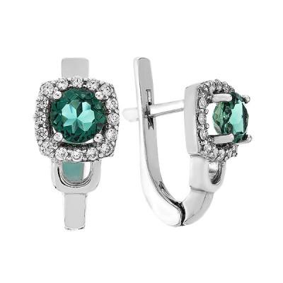 Сережки срібні з зеленим кварцем та фіанітами (2141/1р-QGR)