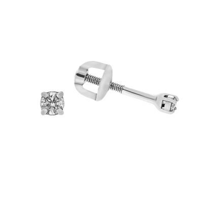 Сережки-пусети (гвоздики) срібні з діамантами (2206/1р-BR)