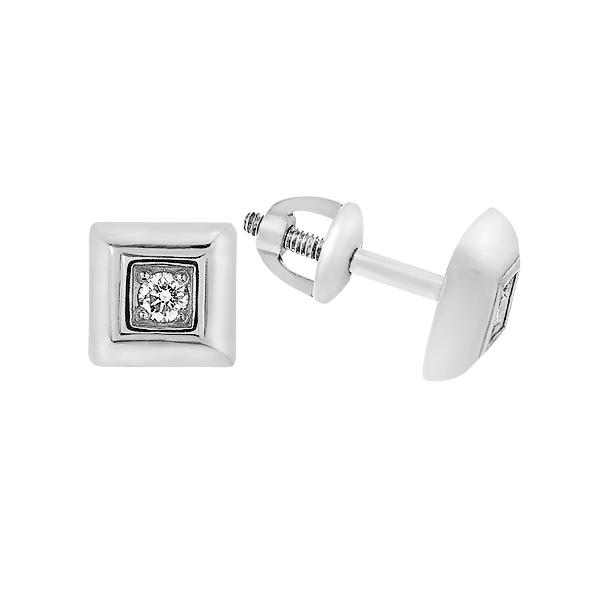 Сережки-пусети (гвоздики) срібні з діамантами (2211/1р-BR)
