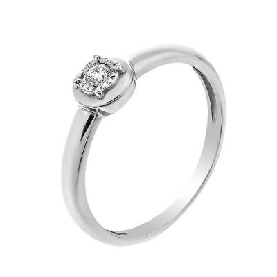 Каблучка срібна з діамантом (2212/1R-BR)
