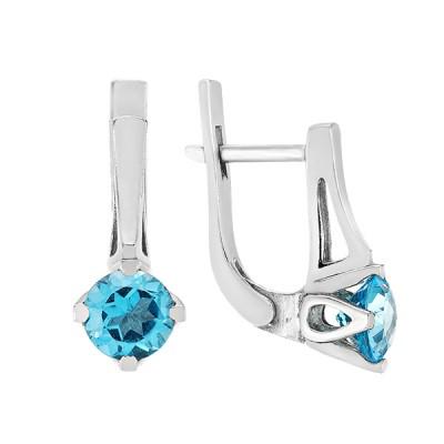 Сережки срібні з топазом swiss  (2342/9р-TSWB)