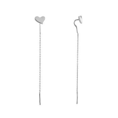Сережки-протяжки срібні Серце без каменів  (2408)