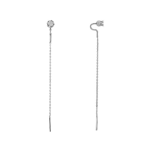 Сережки-протяжки срібні з фіанітами (2424)
