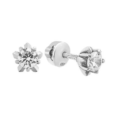 Сережки-пусети (гвоздики) срібні з фіанітами (2437/9р-CZ)