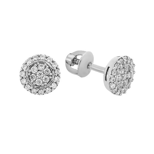 Сережки-пусети срібні з розсипом (2622/9р-CZ)
