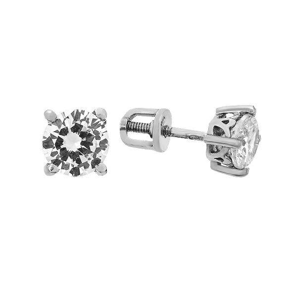 Сережки-пусети (гвоздики) срібні з фіанітами (262610)