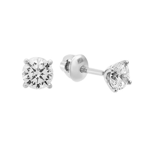 Сережки-пусети срібні з фіанітами (2647/9р-CZ)