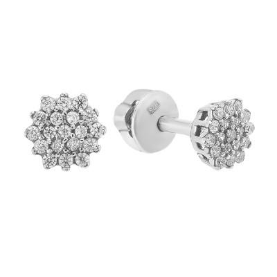 Сережки-пусети срібні з розсипом (2649/9р-CZ)