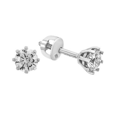 Сережки-пусети (гвоздики) срібні з фіанітами (2650/9р-CZ)