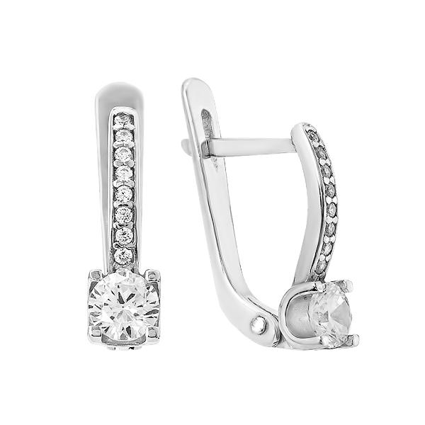 Сережки срібні з фіанітами (2657)