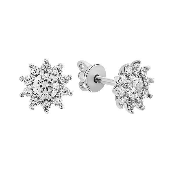 Сережки-пусети (гвоздики) срібні з розсипом (2900)