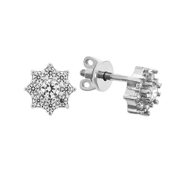 Сережки-пусети срібні з розсипом (2994/1)