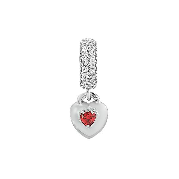 Шарм намистина срібна Серце з фіанітами (39041э)