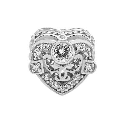 Шарм намистина срібна Серце з фіанітами (39075)