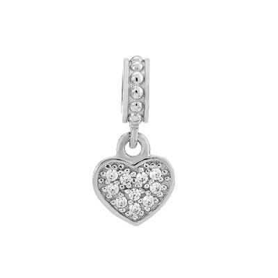 Шарм намистина срібна Серце з фіанітами (39201/1)