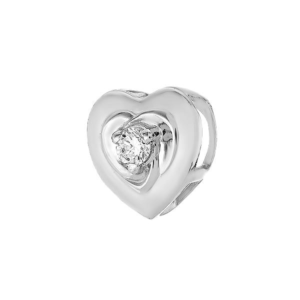 Підвіска срібна Серце з діамантом (3926р-BR)