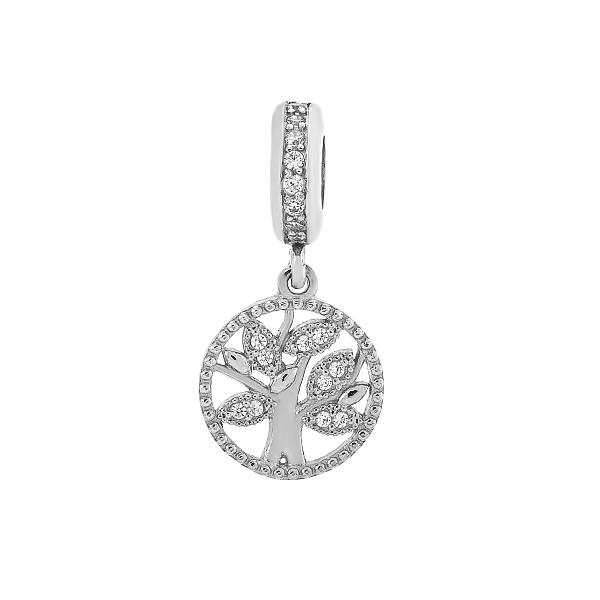 Шарм намистина срібна Дерево з фіанітами (3970)