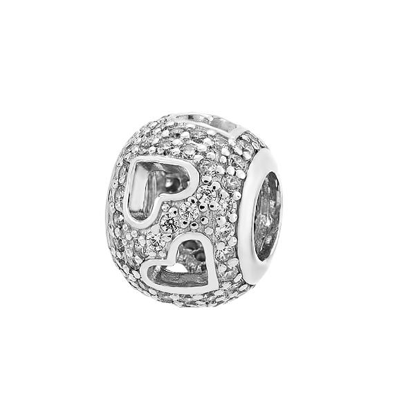 Шарм намистина срібна Серце з фіанітами (3990)