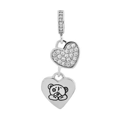 Шарм намистина срібна Серце з фіанітами (471П НБ.Rh)