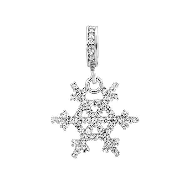 Шарм намистина срібна Сніжинка з фіанітами (492П НБ.Rh)