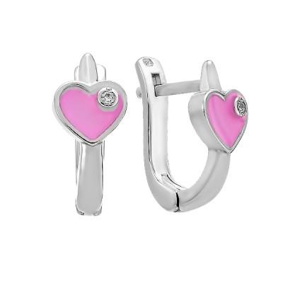 Сережки срібні Серце з фіанітами (500291-СРЭрож)