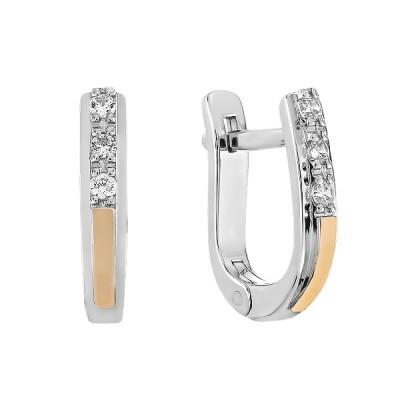 Сережки срібні доріжка з фіанітами та золотими вставками (500388-СЗНР)