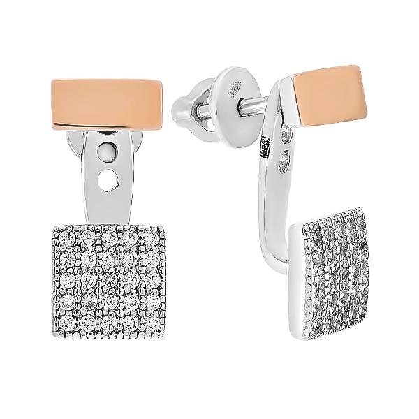 Сережки-пусети срібні з фіанітами та золотими вставками (500397-СПЗНР)