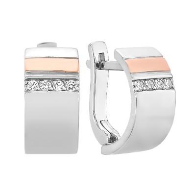 Сережки срібні фантазія з розсипом та золотими вставками (500398-СЗНР)